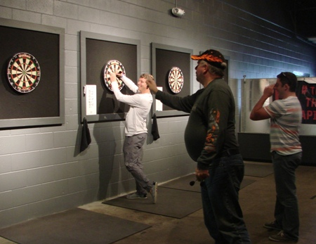 Dart boards are popular at Raleigh Brewing.